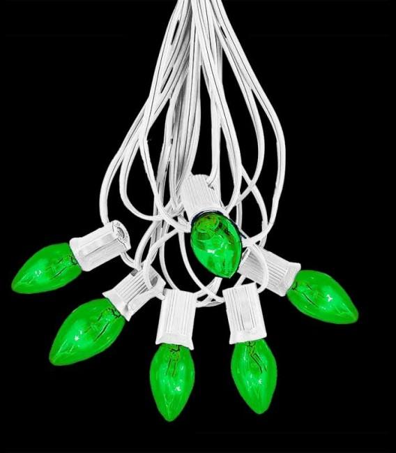 6 Socket White Electric Light String, Green Bulbs