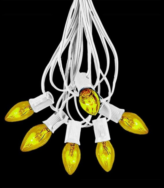 6 Socket White Electric Light String, Yellow Bulbs