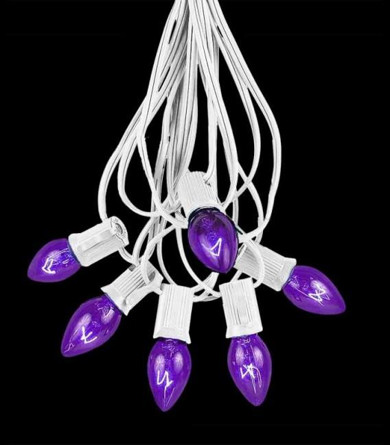 6 Socket White Electric Light String, Purple Bulbs