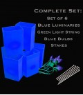 Set of 6 Blue Luminaries, Light String, Bulbs & Stakes