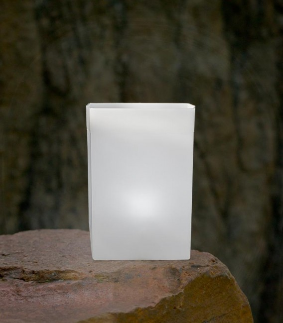 Individual White Luminary with candle