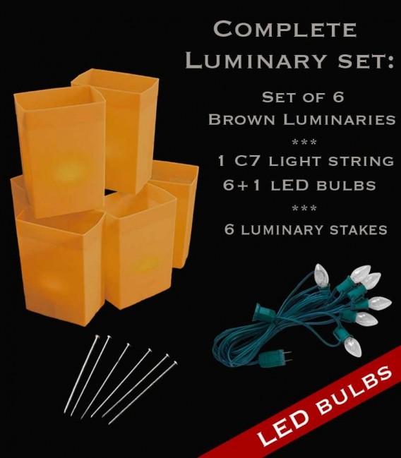 Set of 6 Brown Luminaries, Light String, LED Bulbs & Stakes