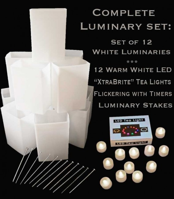 "Set of 12 White Luminaries, ""XtraBrite"" Warm White LED Tea Lights w/ Timers & Stakes"