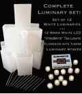 "Set of 12 White Luminaries, ""XtraBrite"" LED Tea Lights w/ Timers & Stakes"