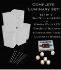 "Set of 6 White Luminaries, ""XtraBrite"" LED Tea Lights w/ Timers & Stakes"