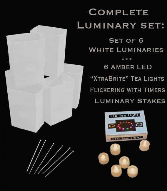 "Set of 6 White Luminaries, ""XtraBrite"" Amber LED Tea Lights w/ Timers & Stakes"