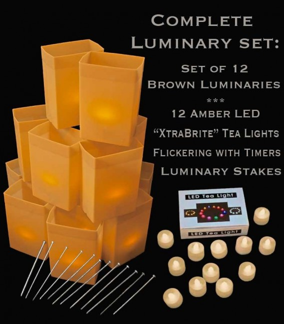 """Set of 12 Brown Luminaries, """"XtraBrite"""" Amber LED Tea Lights w/ Timers & Stakes"""