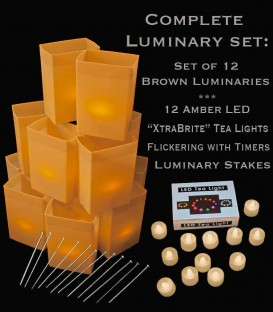 "Set of 12 Brown Luminaries, ""XtraBrite"" Amber LED Tea Lights w/ Timers & Stakes"