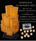 "Set of 12 Brown Luminaries, ""XtraBrite"" LED Tea Lights w/ Timers & Stakes"