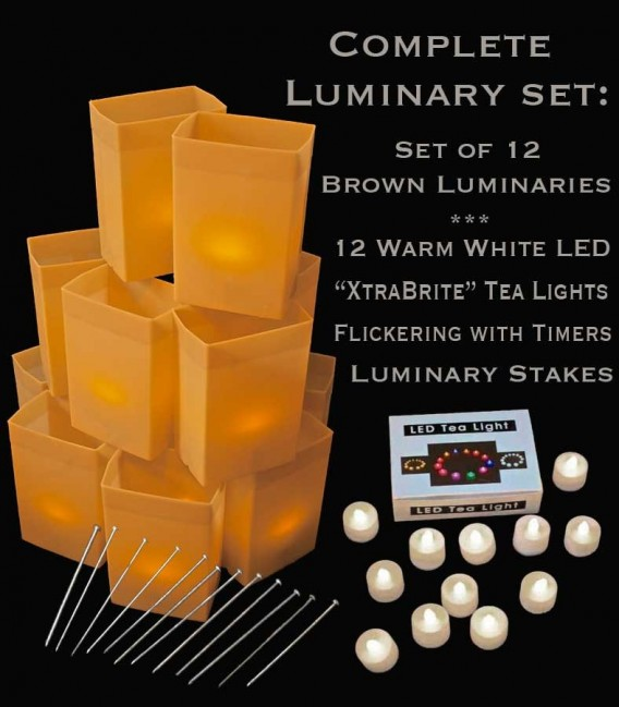 """Set of 12 Brown Luminaries, """"XtraBrite"""" Warm White LED Tea Lights w/ Timers & Stakes"""