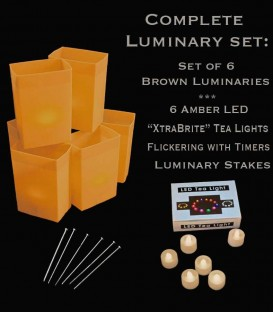 "Set of 6 Brown Luminaries, ""XtraBrite"" Amber LED Tea Lights w/ Timers & Stakes"