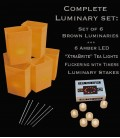 "Set of 6 Brown Luminaries, ""XtraBrite"" LED Tea Lights w/ Timers & Stakes"