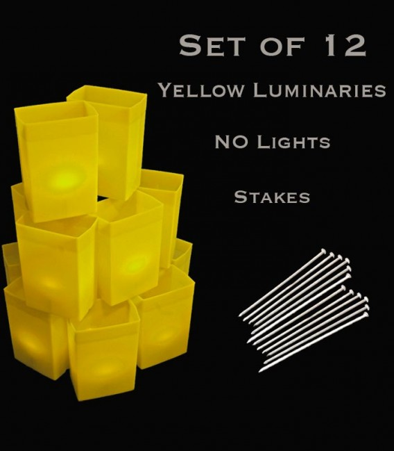 Set of 12 Yellow Luminaries with Stakes