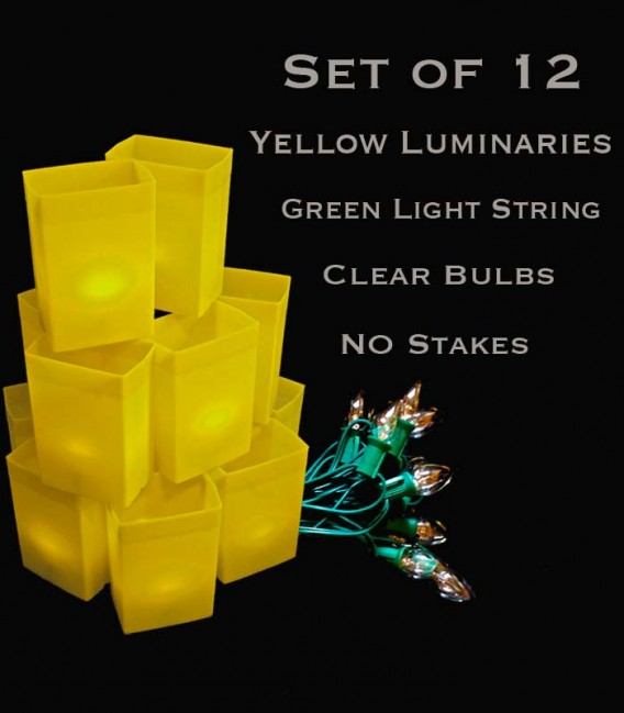 Set of 12 Yellow Luminaries, Green Light String with Bulbs, No Stakes