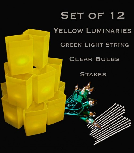 Set of 12 Yellow Luminaries, Green Light String with Bulbs, Stakes