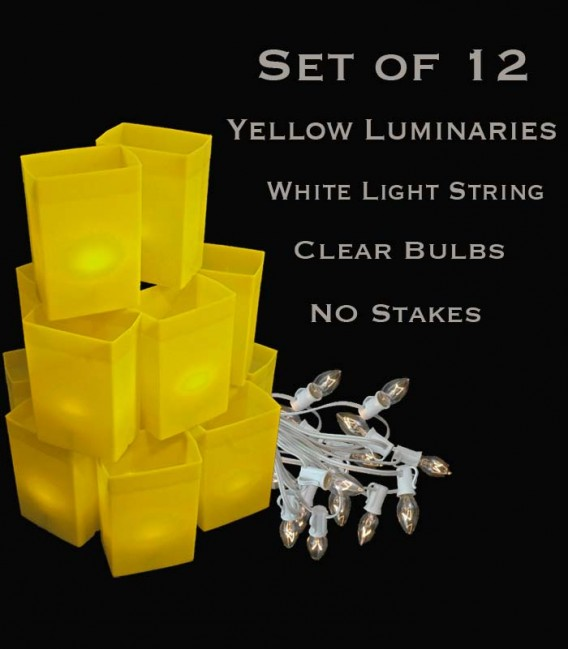 Set of 12 Yellow Luminaries, White Light String with Bulbs, No Stakes