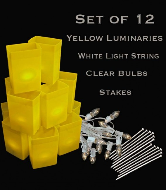 Set of 12 Yellow Luminaries, White Light String with Bulbs, Stakes