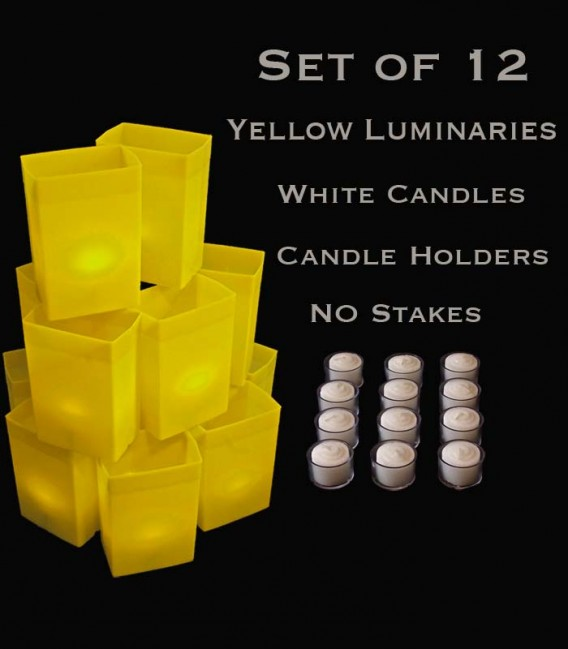 Set of 12 Yellow Luminaries, White Candles with Holders, No Stakes