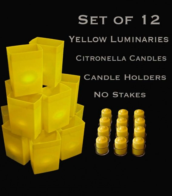 Set of 12 Yellow Luminaries, Citronella Candles with Holders, No Stakes
