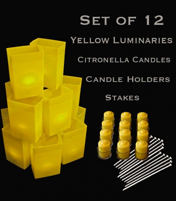 Set of 12 Yellow Luminaries, Citronella Candles with Holders, Stakes