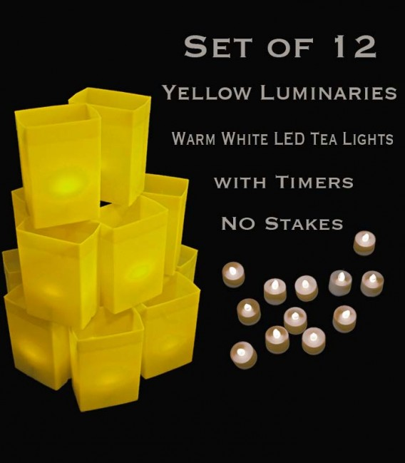 Set of 12 Yellow Luminaries, Warm White LED Tea Lights with Timers, No Stakes