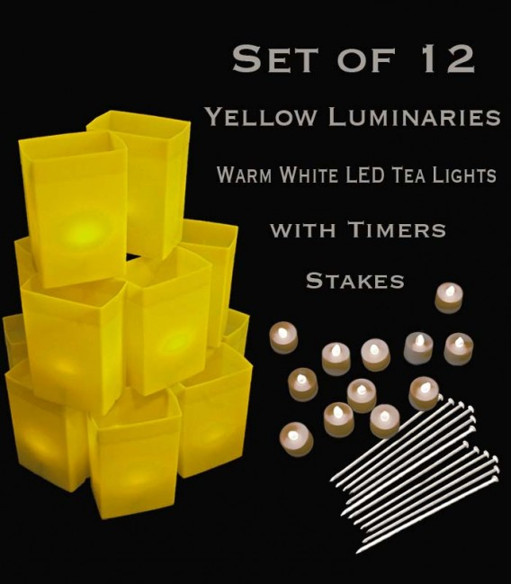 Set of 12 Yellow Luminaries, Warm White LED Tea Lights with Timers, Stakes