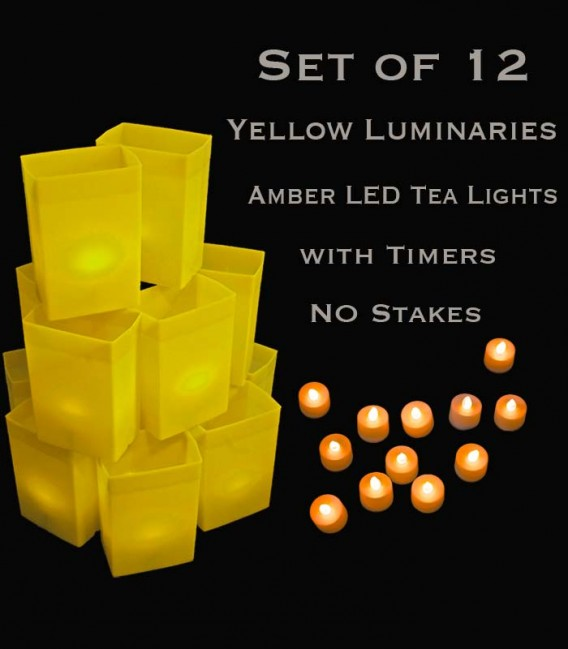 Set of 12 Yellow Luminaries, Amber LED Tea Lights with Timers, No Stakes