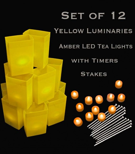 Set of 12 Yellow Luminaries, Amber LED Tea Lights with Timers, Stakes