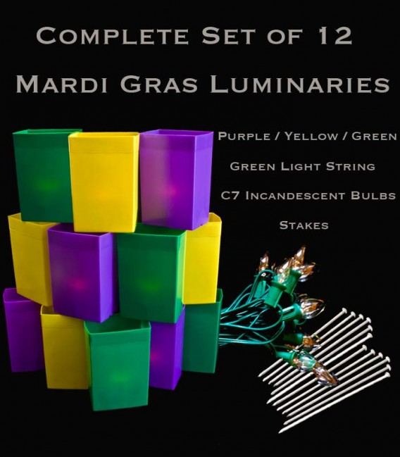 Complete Mardi Gras Set of 12, Green Light String with Incandescent Bulbs, Stakes