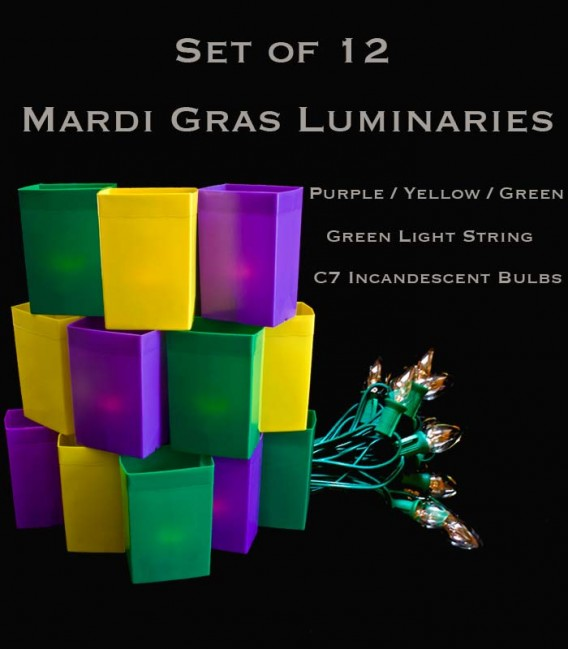 Mardi Gras Set of 12, Green Light String with Incandescent Bulbs,  No Stakes