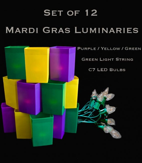 Mardi Gras Set of 12, Green Light String with LED Bulbs,  No Stakes