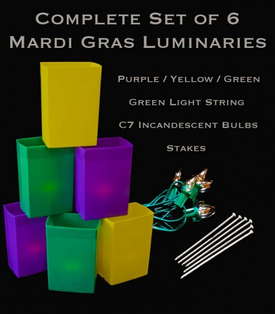 Complete Mardi Gras Set of 6 Luminaries, Green Light String with Incandescent Bulbs, Stakes