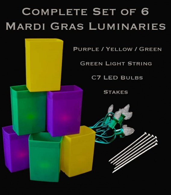 Complete Mardi Gras Set of 6 Luminaries, Green Light String with LED Bulbs, Stakes