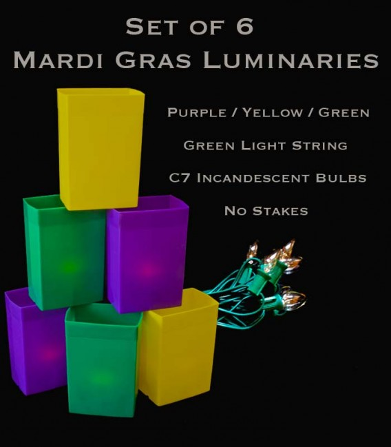 Mardi Gras Set of 6 Luminaries, Green Light String with Incandescent Bulbs, no Stakes