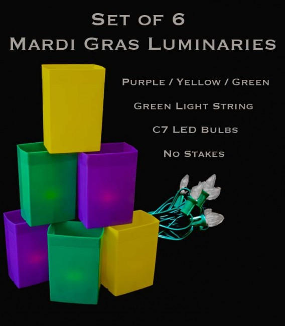 Mardi Gras Set of 6 Luminaries, Green Light String with LED Bulbs, no Stakes
