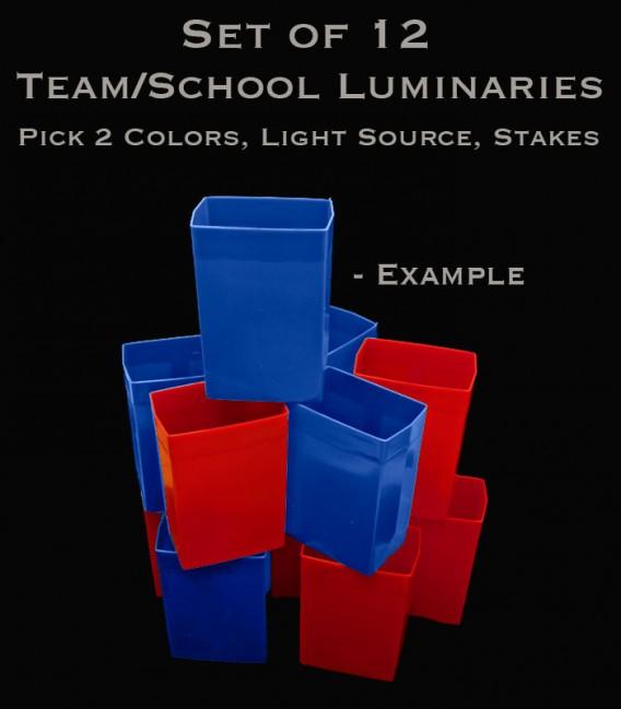 Example Set of 12 Team/School Luminaries, Light String, Bulbs & Stakes