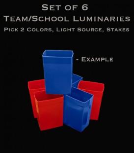 Example Set of 6 Team/School Luminaries, Light String, Bulbs & Stakes