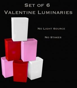 Set of 6 Valentine Luminaries
