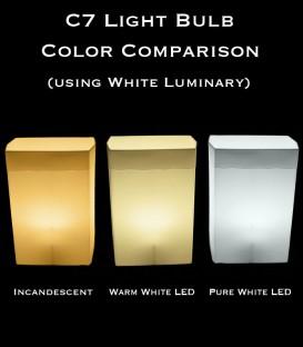 Color Comparison of Bulbs in White Luminary