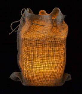 Snug Burlap Bag at Night