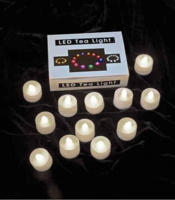 Set of 12 Warm White LED Tealights