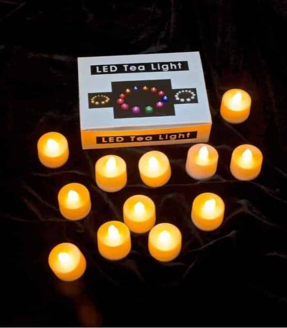 Set of 12 Amber LED Tealights