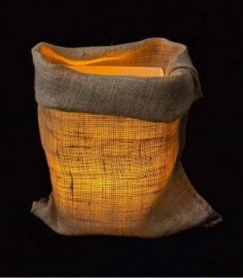 Loose Burlap Bag at Night