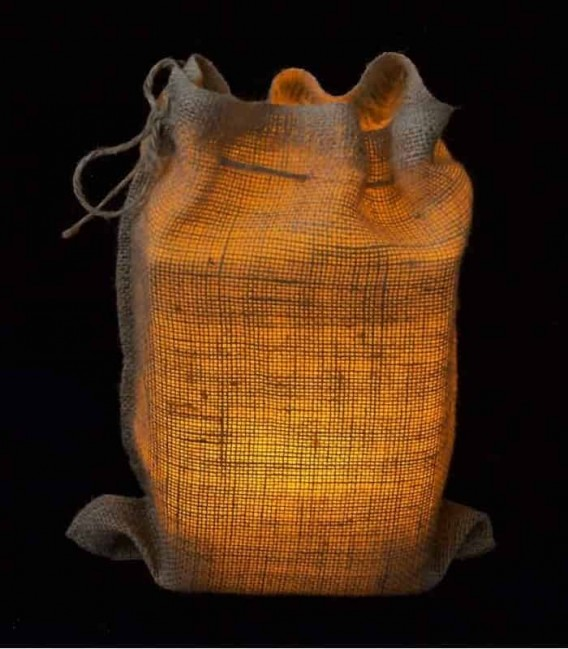 Snug Burlap Bag at Night