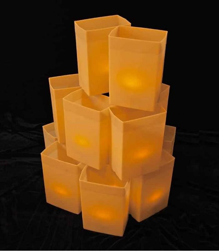 Set Of 12 Brown Luminarias Flic Luminaries
