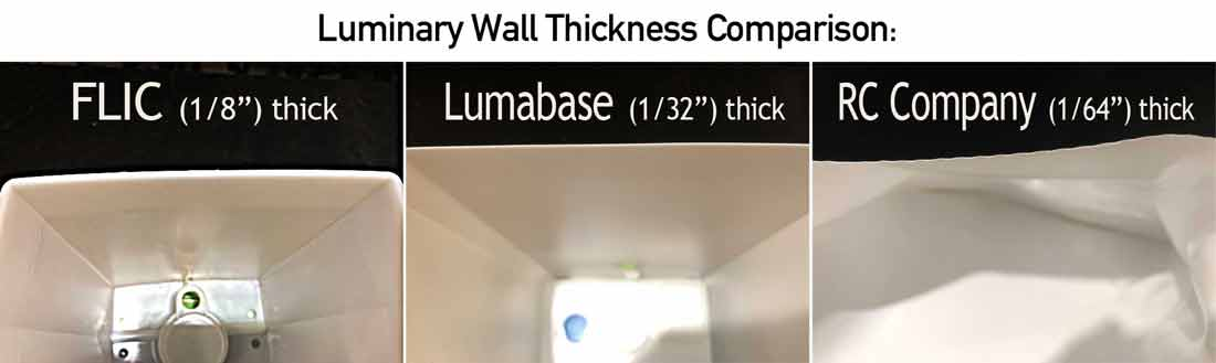 compare luminary wall thicknesses