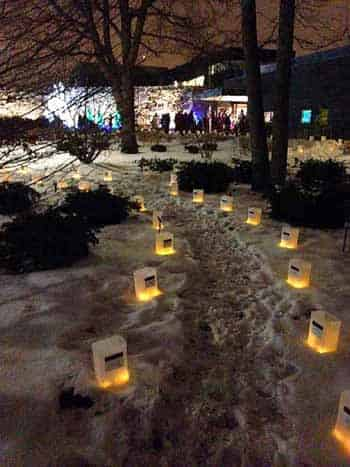 Street luminaries in the snow