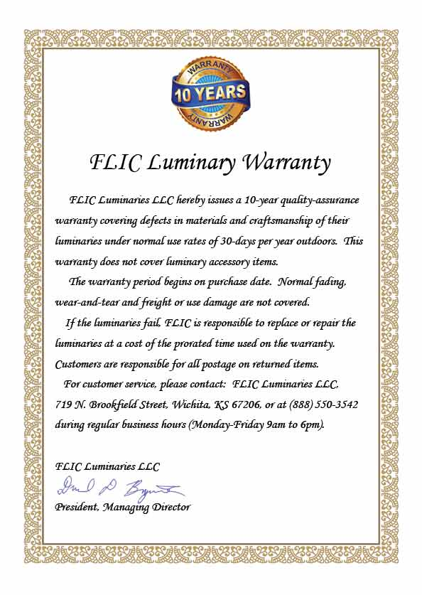 FLIC Luminary Warranty Certificate